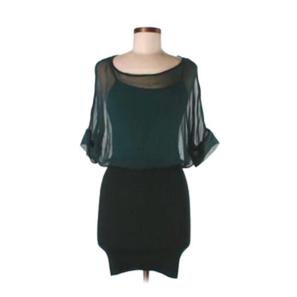 Anthropologie Dresses & Skirts - Anthro Hunter Green Silk Peplum Sweater Mini Dress